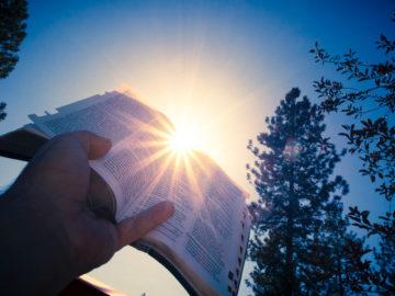 Bible levée au ciel