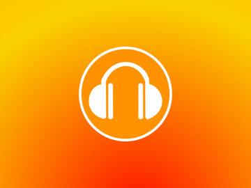 Symbole casque audio sur fond orange